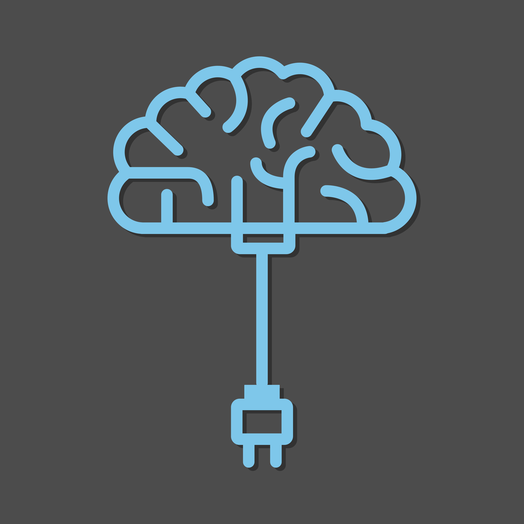 Diagram of a brain with charging cable attached
